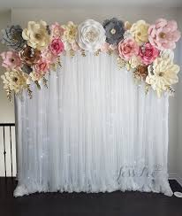 White Paper Flower Backdrop Paper Flower Backdrop With Fairy Lights Pink Grey White