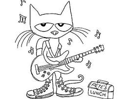 Pete The Cat Plays Guitar Coloring Page Cartoon Coloring Pages