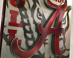 >alabama wall art etsy university of alabama roll tide custom vintage steel wall art sign
