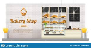 Interior Background With Modern Bakery Shop Display Counter Stock