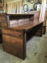 wood office desk furniture. officerustic industrial reception desk with two tiers wood office furniture