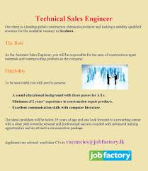 Technical Sales Engineer,jobs Vacancies In Sri Lanka, Top Jobs ...