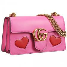 sweet style gucci gg marmont medium heart design brass hardware pink leather chain bag