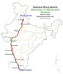 Indian Railway Route Chart Kochuveli Dehradun Superfast Express Wikipedia