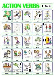 Action Verbs Mesmerizing PICTIONARY ACTION VERB SET 48 From E To K ESL Pinterest