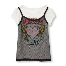 display reviews for s short sleeve forever love graphic faux layer