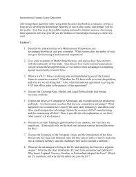 international finance essay questions doc