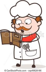 cartoon chef reading recipe book for cooking csp49628186