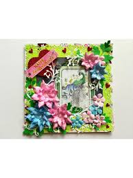 Buy Paper Flower Pink And Blue Paper Flowers Anniversary Greeting Card