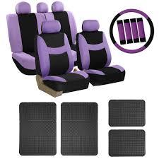 car seat cover for auto set purple w steering wheel belt pad head