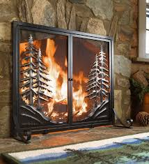 alpine fireplace screen with doors brings the peace and tranquility of the mountains to your hearth