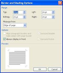 word displays the borders and shading options dialog box see figure 2