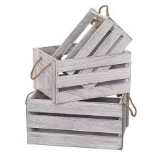 slpr decorative storage wooden crates set of 3 rope handles perfect for fl arrangements gardening wedding vintage country chic rustic distressed