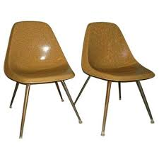 fiberglass shell chairs. vintage borg-warner fiberglass shell chairs - pair l