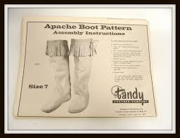 vintage 70s tandy leather company apache boot pattern make your own moccasins diy how to instructions size 7 8 00 via