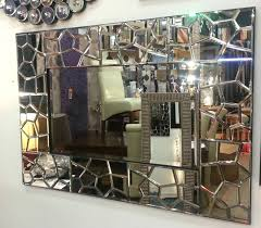 large mosaic multishape border frame wall mirror bevelled larger image