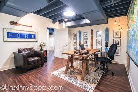 office space manly. Ugly Basement Makeover Ideas -- Painted Ceiling With Water Skis And Black White Office Space Manly