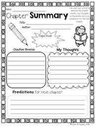 Chapter Summary Worksheet Template Book Reports Pinterest
