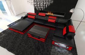 Sofa Wohnlandschaft Bonn Mit Led Schwarz Rot