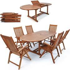 wooden garden dining set deuba vanamo table and 6 reclining chairs fsc certified eucalyptus wood folding extendable