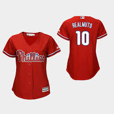 Alternate Majestic t J Scarlet Phillies Jersey Cool Realmuto Men's Base