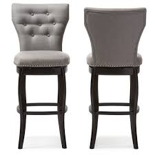 swivel bar chair. Baxton Studio Leonice Modern And Contemporary Grey Fabric Upholstered Button-tufted 29-Inch Swivel Bar Chair 3