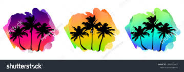Postcard Designer Clothes Set Composition Tropical Suset Designer Element Stock Vector
