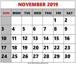 November 2019 Printable Calendars