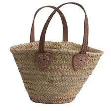 childs ping basket with leather handles