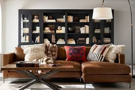pottery barn leather sectional couch