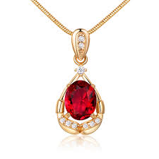 details about oval ruby red crystal sapphire yellow gold filled pendant women lady necklace