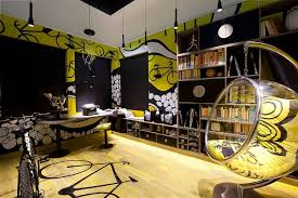 black home office. teentastic contemporary home office in black and yellow design makom