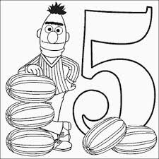 Small Picture Bert Number 5 Coloring Pages PrintFree