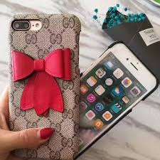 gucci iphone 7 plus case. instocks new gucci inspired large bow celebrity hard shell fabric case red blue mobile hand phone iphone 7 plus