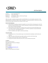 Food Server Job Description For Resume Resume For Your Job