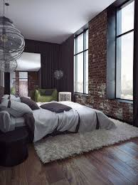 industrial chic with exposed brick and wide floor boards shag rugs and contemporary lighting add bedroomterrific eames inspired tan brown leather short