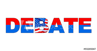 Word In Red Debate Word In Red White And Blue With American Flag Color