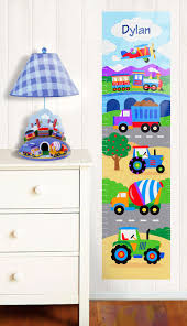 Personalized Growth Chart Trains Planes And Trucks Wall