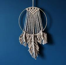 feather macrame wall hanging round handmade in surrey