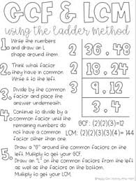 Greatest Common Factor Chart Greatest Common Factor Least Common Multiple Anchor Chart Ladder Method