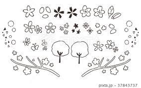 かわいい桜の手描き風アイコンセット線画透過のイラスト素材
