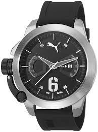 men s puma black silicone strap watch pu103781002