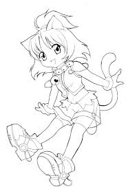 Anime Coloring Pages Cat Chibi Scihostco