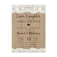 Couple Wedding Shower Invitations Amazon Com Couples Wedding Shower Invitation Lace And Wood