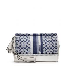 Lyst - Coach Legacy Signature Stripe Large Wristlet in Blue