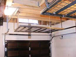 black metal overhead garage storage shelves for small garage spaces with wood ceiling beams after remodel ideas