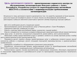 Услуги по переоборудованию автомобиля ВАЗ презентация онлайн Дипломный проект Цель дипломного проекта проектирование сервисного центра по обслуживанию автовладельцев Невского района г