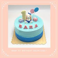 Pretty Bunny Topper For Baby Girl 1st Birthday Cream Cake