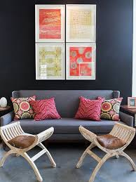 view in gallery colorful wall art and bohemian style throw pillows enliven the e