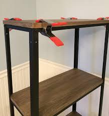 wood metal bookshelf step 2